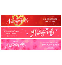 valentine day sale banners design template golden vector image