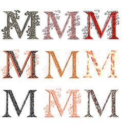 Various combination fishnet letter m vector