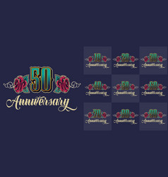vintage anniversary festive colorful emblems set vector image