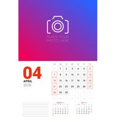 Wall calendar planner template for april 2019 vector