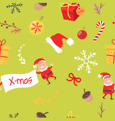 Wallpaper design with elves acorns and branches vector