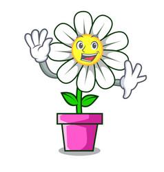 Waving daisy flower character cartoon vector
