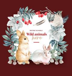 Winter animal wreath design with rabbit bird vector