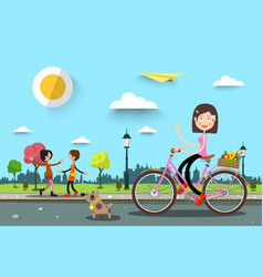 woman on bicycle in city park with women on vector image