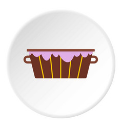 Wooden bucket with foam icon circle vector