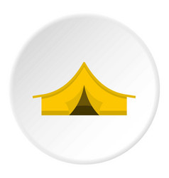 Yellow tourist tent icon circle vector