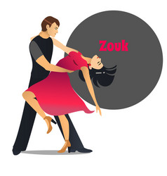 Zouk dancing couple in cartoon style vector