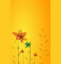 beautiful color floral design card vector image vector image