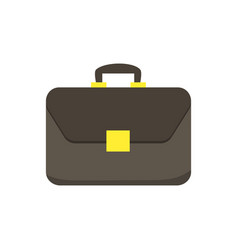 brown briefcase with golden lock isolated on white vector image vector image