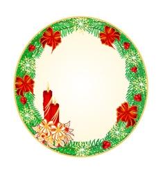 Button circular Christmas Spruce vector image vector image