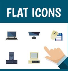 Flat icon laptop set of pc processor computer vector