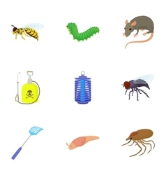 Harmful insects icons set cartoon style vector image