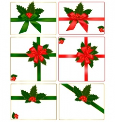 holly and ribbons vector image vector image