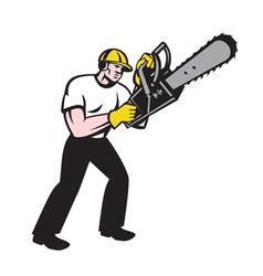 Lumberjack Tree Surgeon Arborist Chainsaw vector image vector image