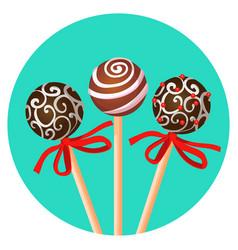 three bonbones on stick with ornamental brown vector image