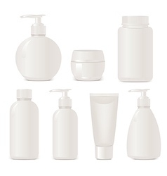 White no name set of plastic cosmetic containers vector image vector image