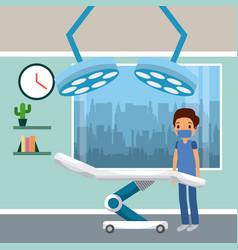 cartoon surgeon interior surgery operation room vector image