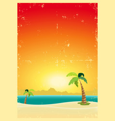 exotic beach grunge postcard vector image vector image