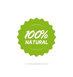 Natural 100 percent green label isolated on vector image vector image