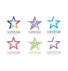 Star logo icon template set Leader boss vector image