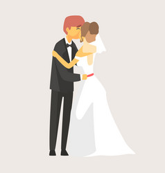 bride and groom kissing at wedding ceremony vector image