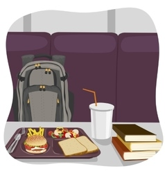 School lunch tray with stack of books vector