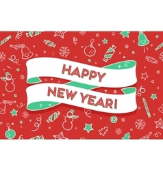 Trendy ribbon and text Happy New Year vector image vector image