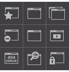 black browser icons vector image