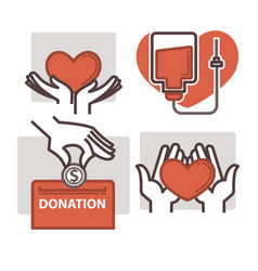 blood donation heart in helping hand icons vector image