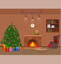 living room interior holiday design with vector image