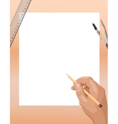 Male hand drawing design vector image