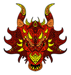 patterned dragon head colored doodle dragon vector image