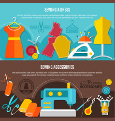 sewing accessories banners set vector image vector image