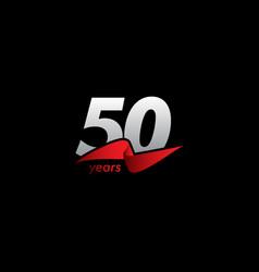 50 years anniversary celebration white black red vector