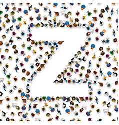 A group of people in english alphabet letter z vector