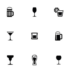 alcohol 9 icons set vector image
