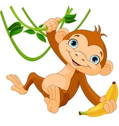 Baby monkey on a tree vector