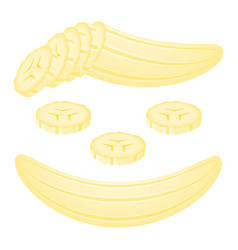 Banana slices isolated on white vector