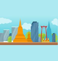 bangkok detailed banner symbols of thailand vector image