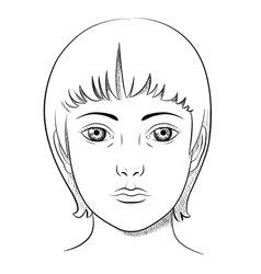 black and white lineart portrait a woman vector image
