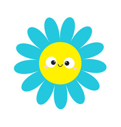 Blue daisy chamomile with smiling face head cute vector