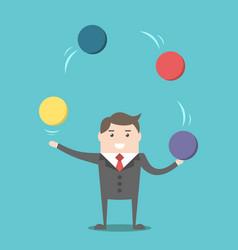 Businessman juggling spheres vector