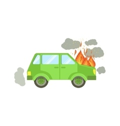 Car With Engine On Fire And Smoke Clouds Around vector