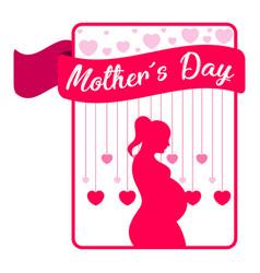 Card with silhouette of a mom mother day vector