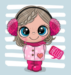 cartoon girl in a coat and fur headphones vector image