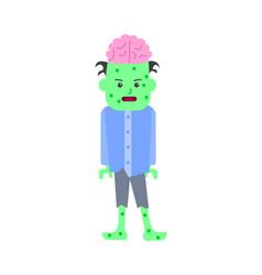cartoon halloween kid costume green monster vector image