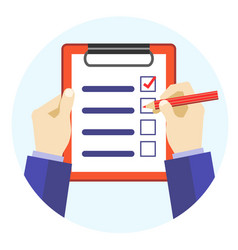 Cartoon hands holding pen and checklist vector