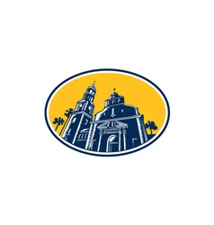 Cathedral basilica of st augustine woodcut retro vector