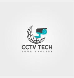 Cctv camera icon template logo technology vector