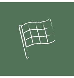 Checkered flag icon drawn in chalk vector
